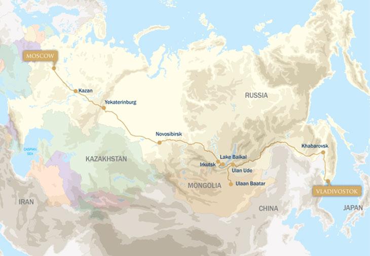 Lake Baikal World Map.The Trans Siberian Express Westbound Vladivostok To Moscow
