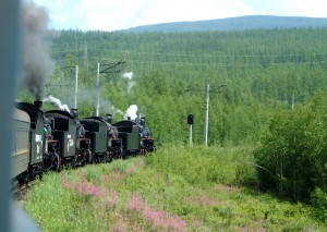 Steam-hauled train near Novy Urgal on the BAM railway