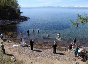 swimming in Baikal