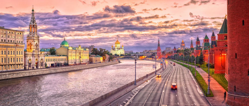 Moscow Skyline At Red Evening Light