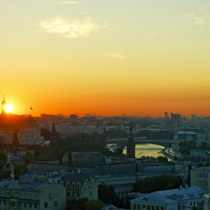 Sunrise Over Moscow Kremlin And City Center