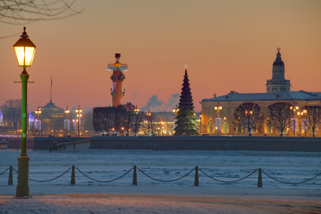 Spit of Vasilyevsky Island in St. Petersburg Russia winter evening in Christmas decorations.