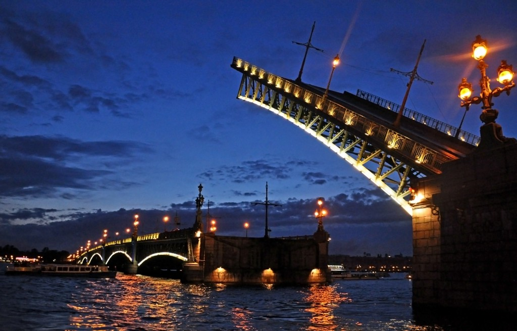 Bridge over the Neva River during White Nights