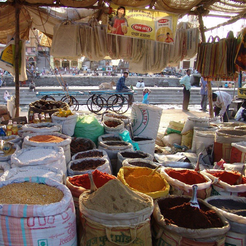 A spice market in India