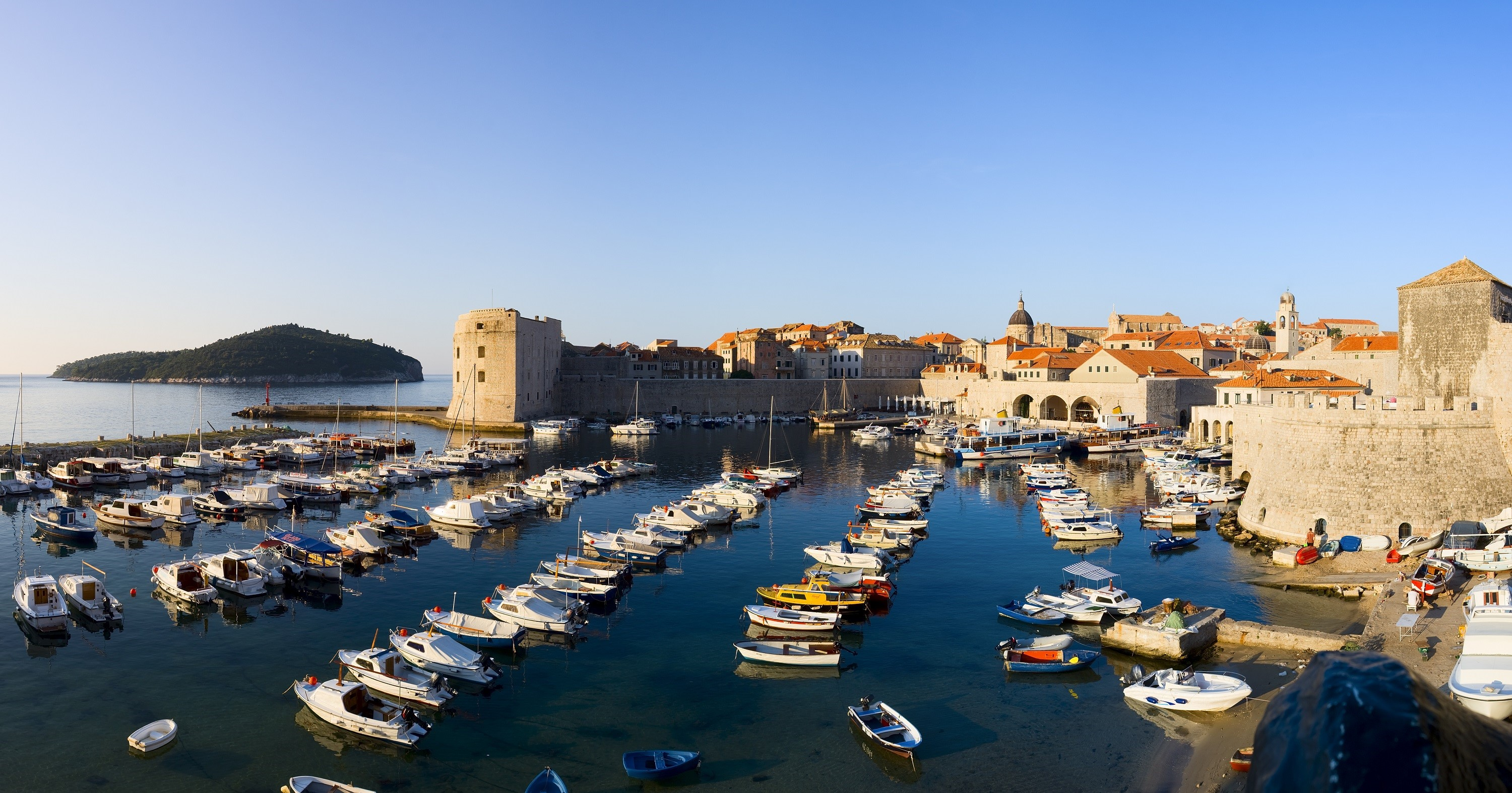 The old port and St John fort in Dubrovnik, Croatia