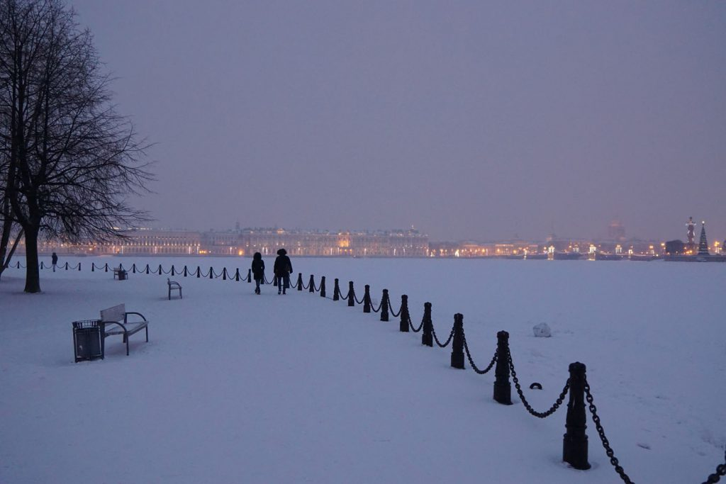 A snowy evening walk in St Petersburg.