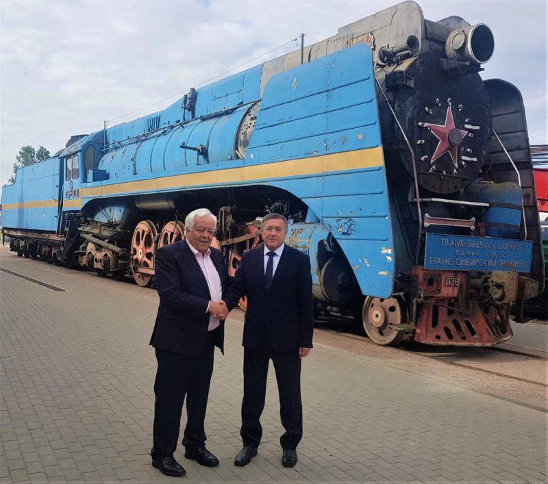Tim Littler with Vladimir Odintsov, director of the Russian National Railway Museum, at the P36 handover ceremony