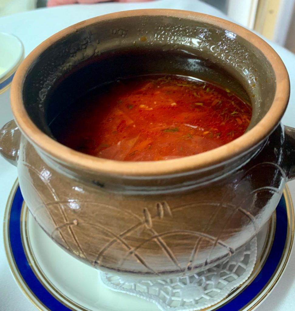 Borsht, a traditional Russian soup.