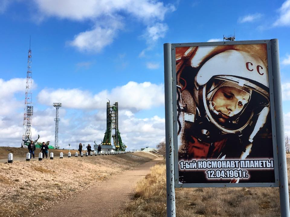 Baikonur Cosmodrome with Yuri Gagarin's picture, seen on Republics of Silk Road tour