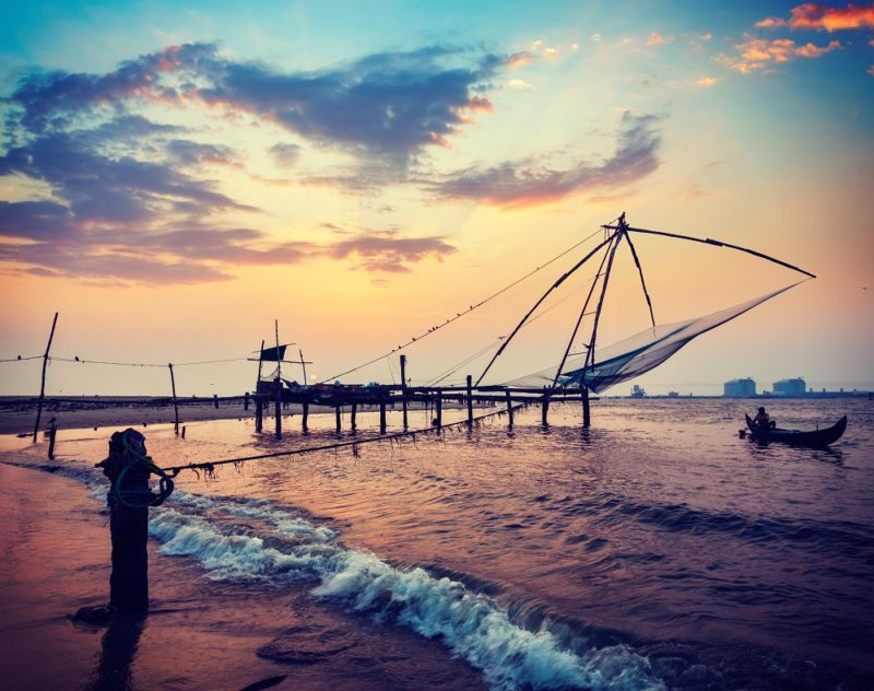 Fishing nets on the beach in Kochi, India