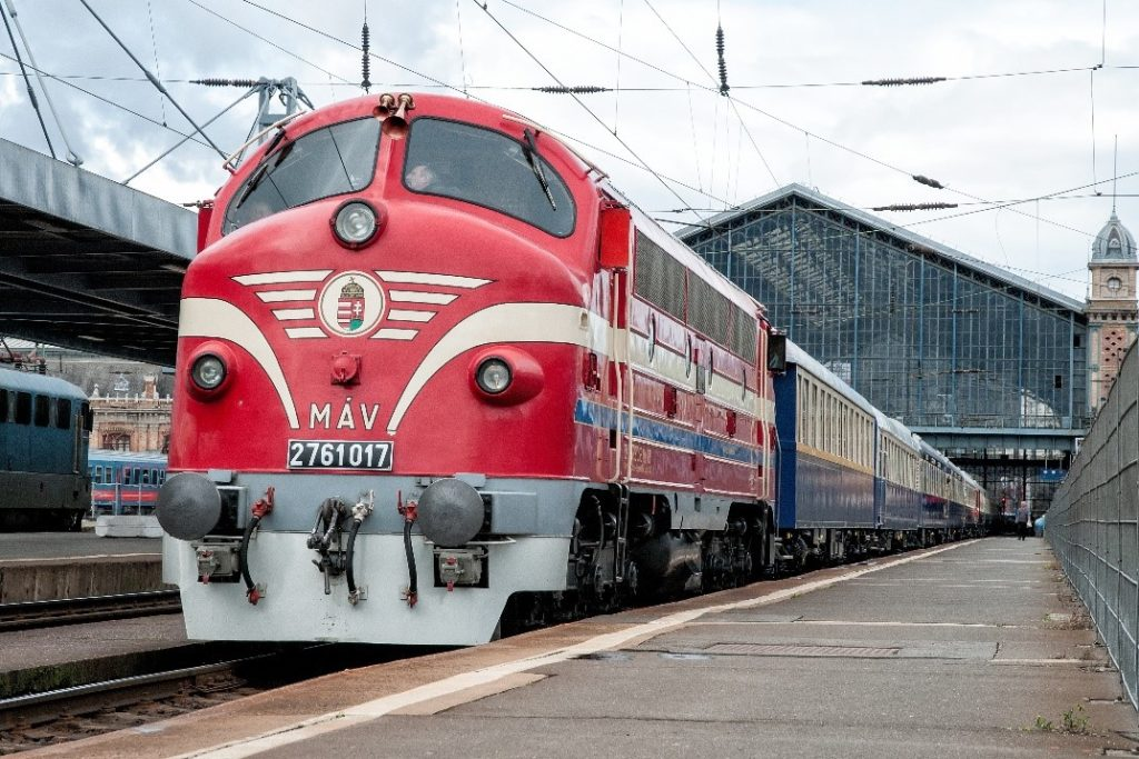 The Golden Eagle Danube Express train at Budapest Nyugati station