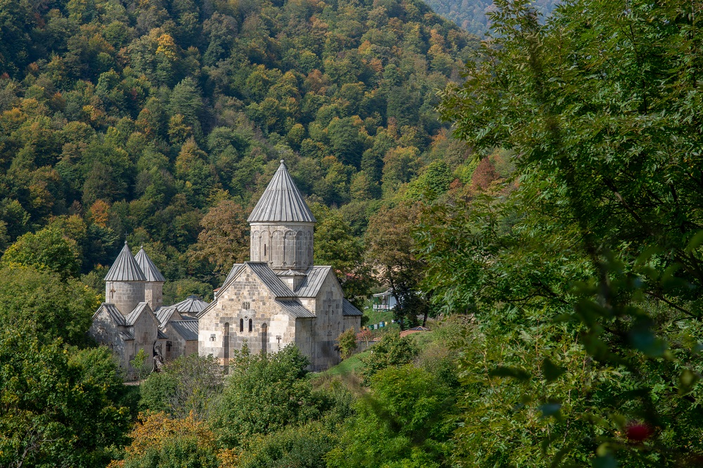 Haghartsin Monastery in the mountain forest, Armenia