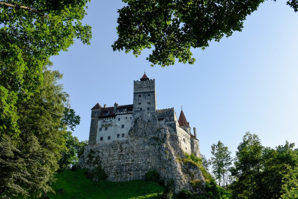 Bran Castle on a hilltop in Brasov, Romania