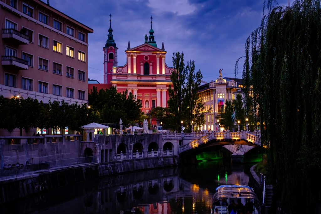 A view of the river in Ljubljana, Slovenia