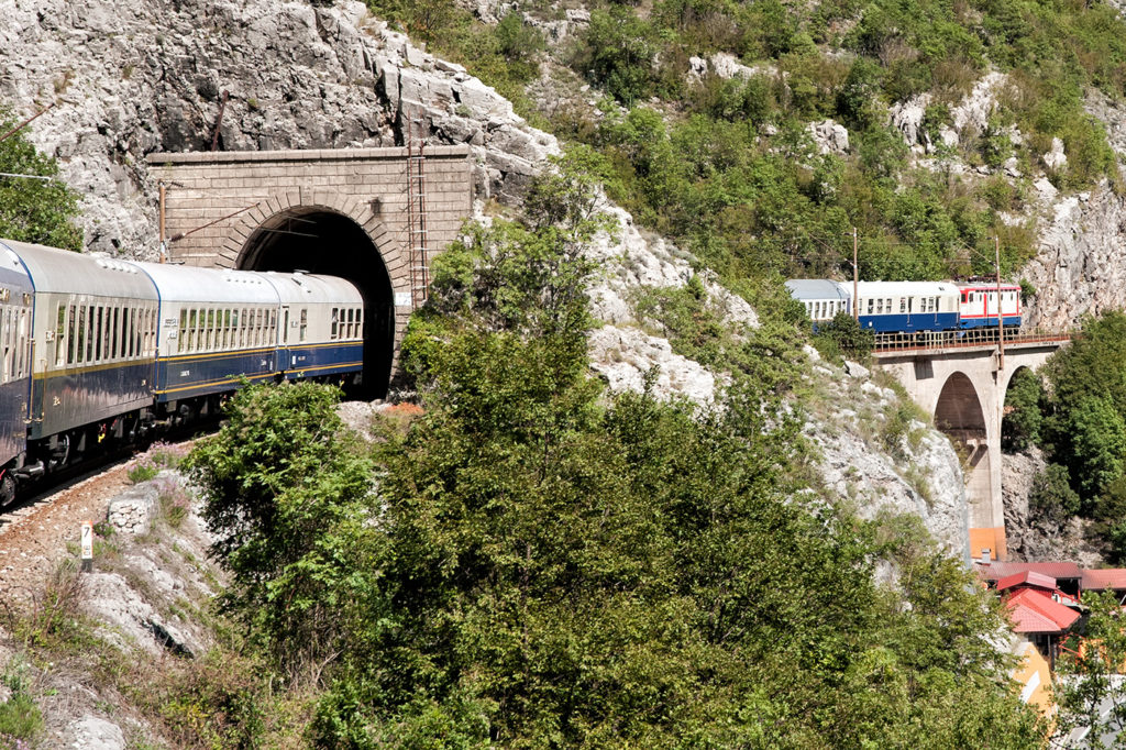 The Golden Eagle Danube Express passing through a tunnel in Neretva Valley